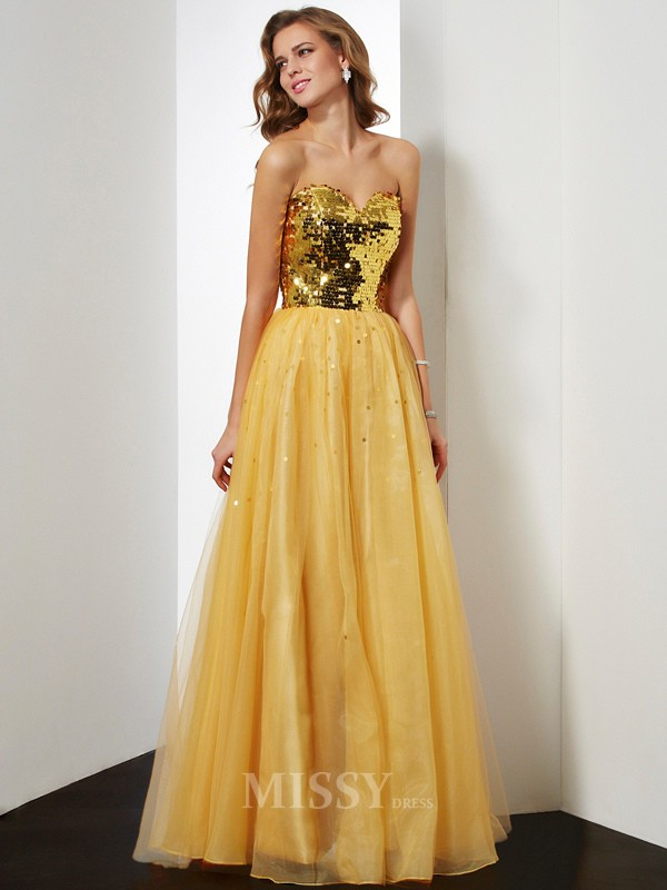 Ball Gown Sweetheart Floor-Length Organza Evening Dress With Sequin