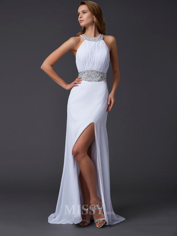 A-Line Scoop Sweep Train Chiffon Evening Dress With Applique