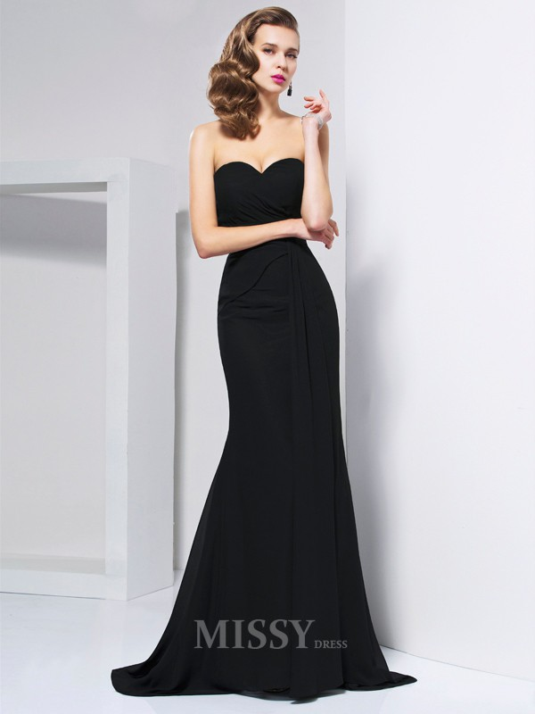 Mermaid Sweetheart Sweep Train Chiffon Evening Dress With Sequin