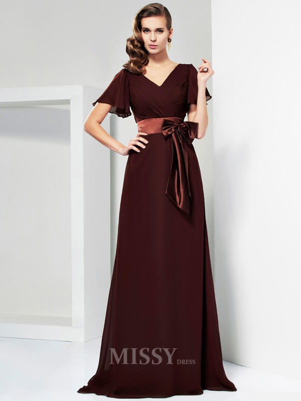 A-Line Short Sleeves V-neck Sweep Train Evening Dress With Pleats