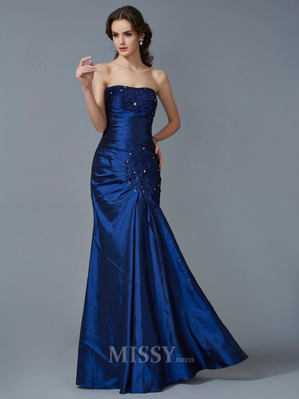 Mermaid Strapless Taffeta Floor-Length Evening Dress With Beading
