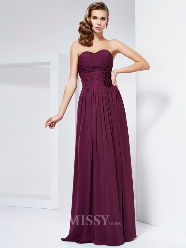 Sheath Sweetheart Pleats Floor-Length Evening Dress With Embroidery