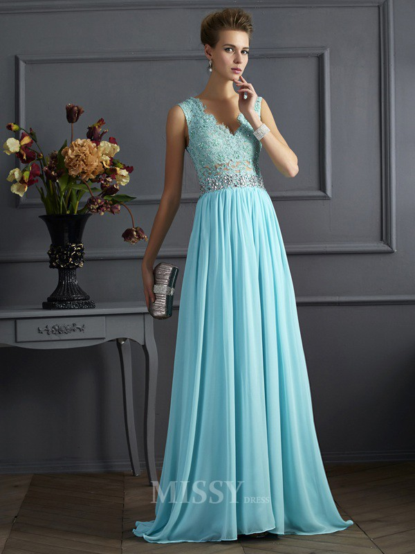 A-Line Straps Lace Floor-Length Chiffon Evening Dress With Beading