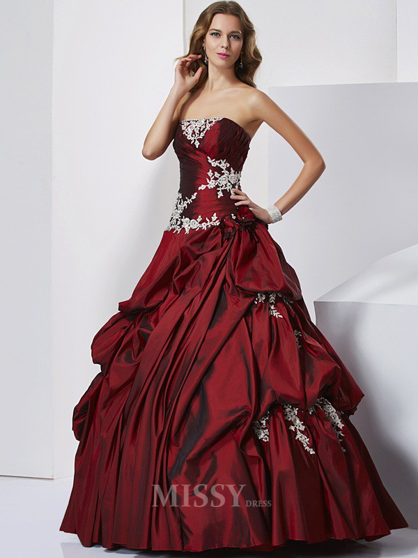 Ball Gown Sweetheart Floor-length Taffeta Evening Dress With Embroidery