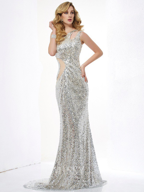Mermaid One-Shoulder Lace Sweep Train Evening Dress With Sash