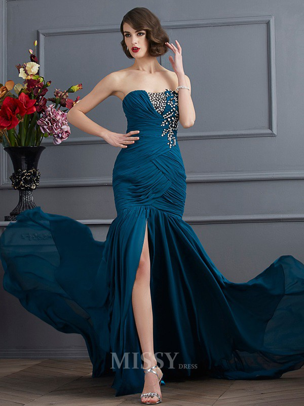 Mermaid Strapless Sweep Train Chiffon Evening Dress With Rhinestone