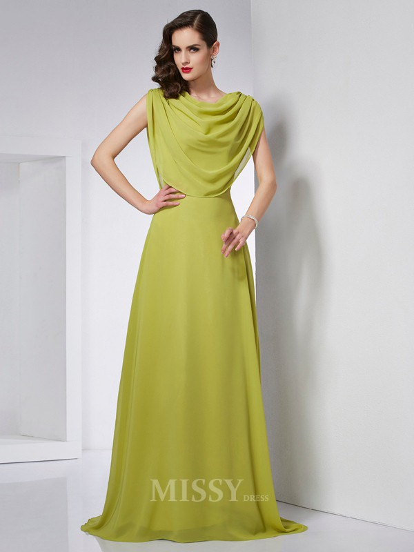 A-Line High Neck Sweep Train Chiffon Evening Dress With Beading Pleats