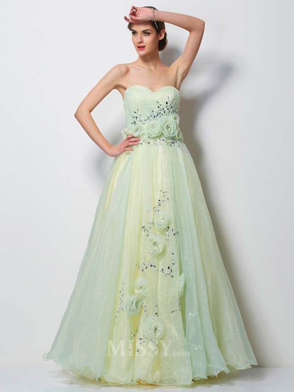 A-Line Sweetheart Floor-Length Tulle Evening Dress With Lace