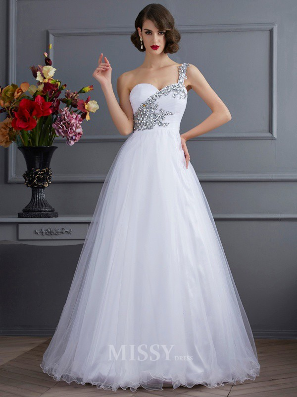 Ball Gown One-Shoulder Floor-length Elastic Woven Satin Evening Dress With Beading