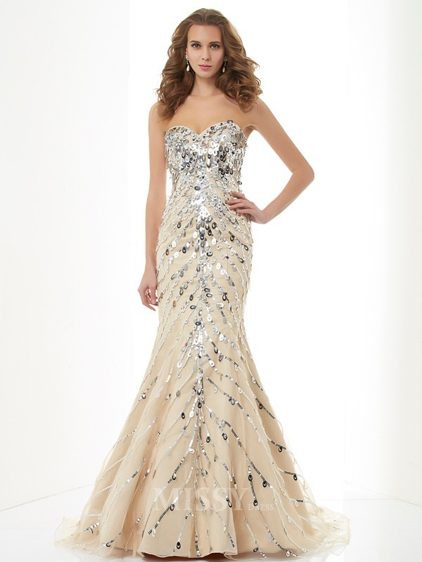 Mermaid Sweetheart Sweep Train Satin Evening Dress With Beading