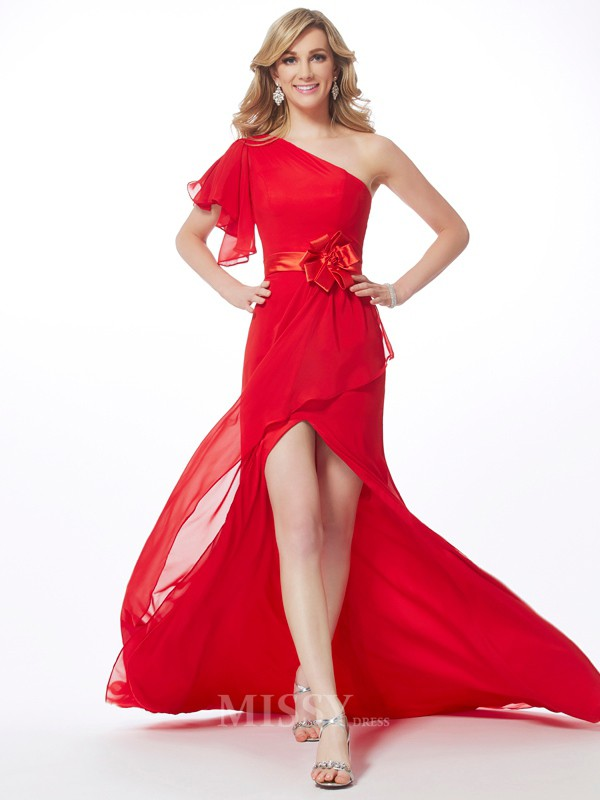 Mermaid One-Shoulder Sweep Train Chiffon Evening Dress With Beading Hand-Made Flower