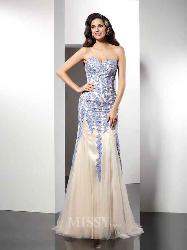 Trumpet/Mermaid Sweetheart Applique Sweep/Brush Train Tulle Dress With Applique