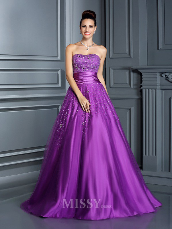 Ball Gown Sweetheart Beading Floor-Length Satin Quinceanera Dress With Sash