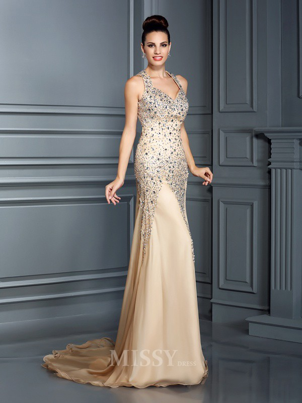 A-Line/Princess Straps Beading Court Train Chiffon Dress With Embroidery