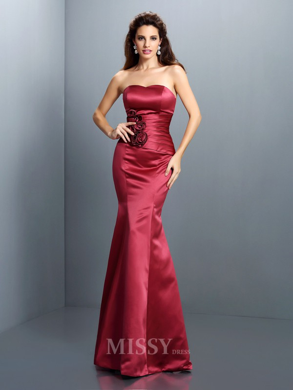Trumpet/Mermaid Strapless Floor-Length Satin Dress With Embroidery Hand-Made Flower