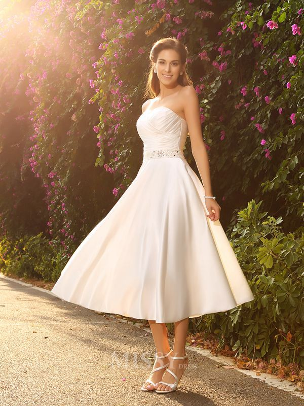 A-Line/princess Sweetheart Satin Tea-Length Wedding Gown With Beading