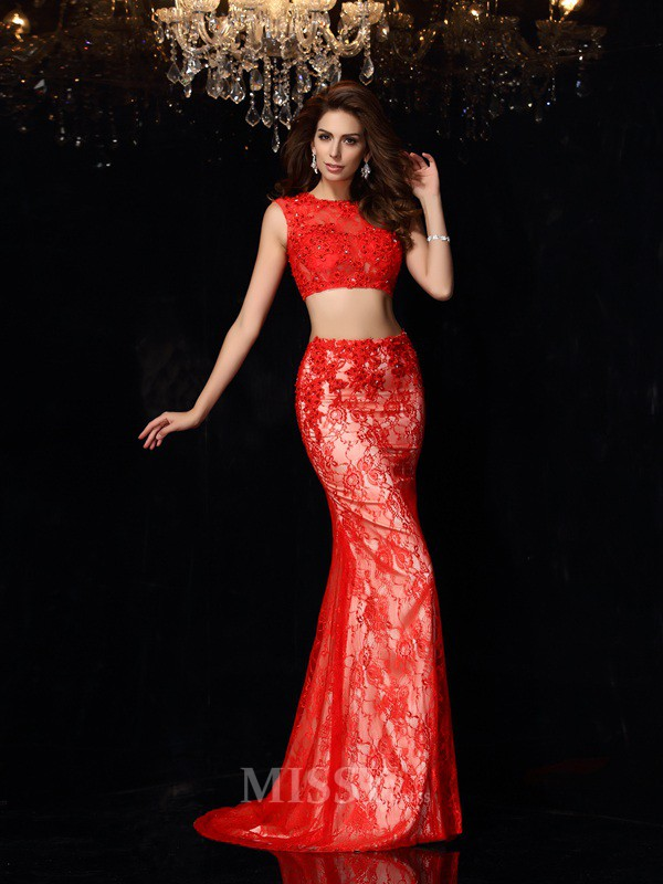 Sheath/Column Scoop Sweep/Brush Train Elastic Woven Satin Lace Dress With Embroidery