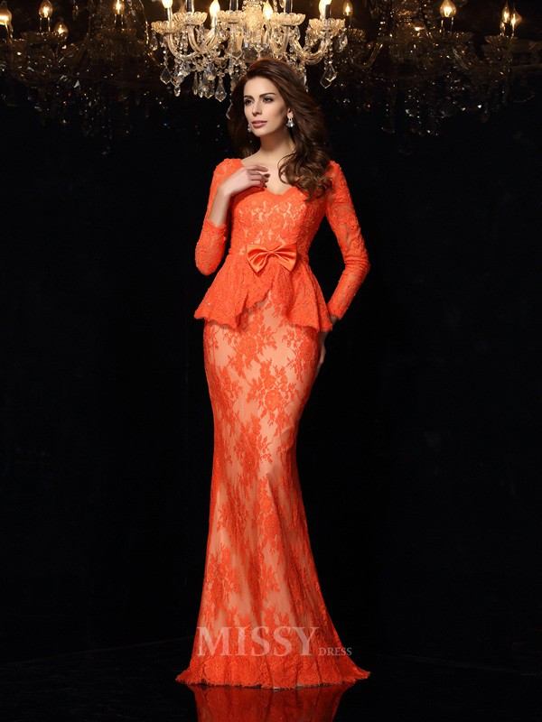 Sheath/Column V-neck Long Sleeves Lace Sweep/Brush Train Dress With Sash