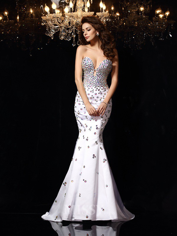 Trumpet/Mermaid Sweetheart Satin Court Train Dress With Applique