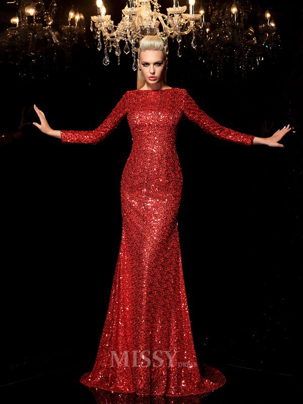 Sheath/Column Scoop Long Sleeves Sweep/Brush Train Sequins Dress With Lace Sequin