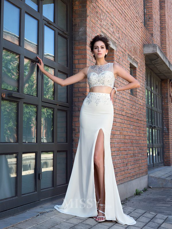 Sheath/Column Sleeveless Crystal Sweep/Brush Train Chiffon High Neck Dresses