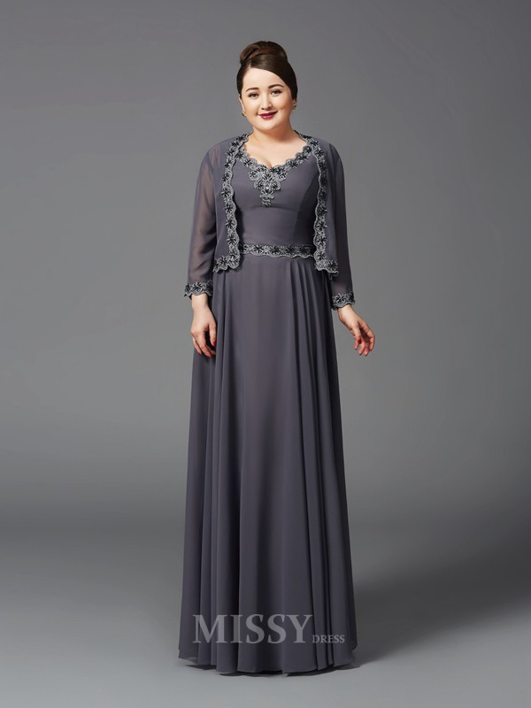 A-Line/Princess Straps Lace Floor-Length Chiffon Plus Size Mother of the Bride Dress With Beading