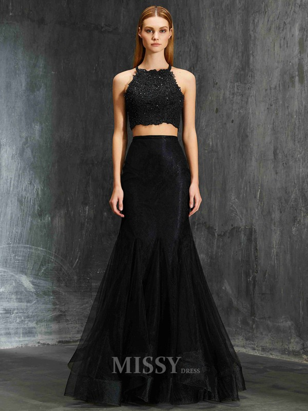Trumpet/Mermaid Floor-Length Net Spaghetti Straps Applique Sleeveless Dress