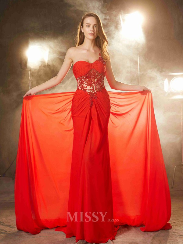 Sheath/Column One-Shoulder Sleeveless Sweep/Brush Train Chiffon Dress With Beading