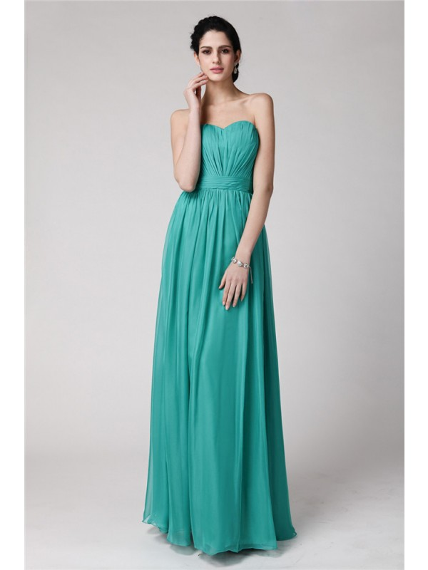 Sheath/Column Pleats Sweetheart Floor-Length Sleeveless Chiffon Bridesmaid Dresses