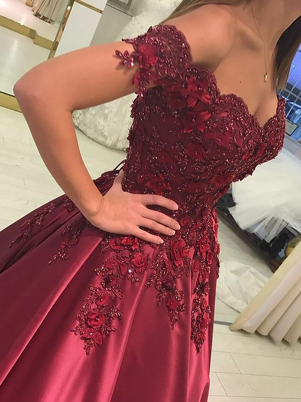 Ball Gown Satin Applique Floor-Length Sleeveless Off-the-Shoulder Dresses