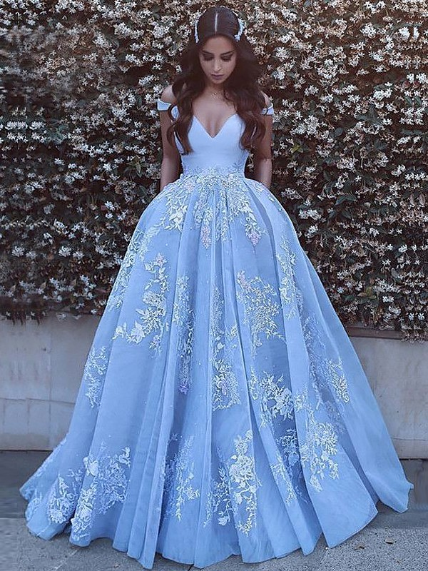 Ball Gown Tulle Applique Sweep/Brush Train Sleeveless Off-the-Shoulder Dresses