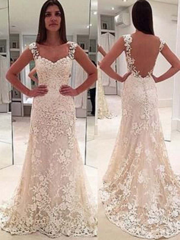 Sheath/Column Straps Court Train Sweetheart Sleeveless Applique Wedding Dresses With Lace