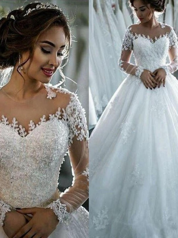 Ball Gown Scoop Long Sleeves Applique Tulle Court Train Wedding Dresses