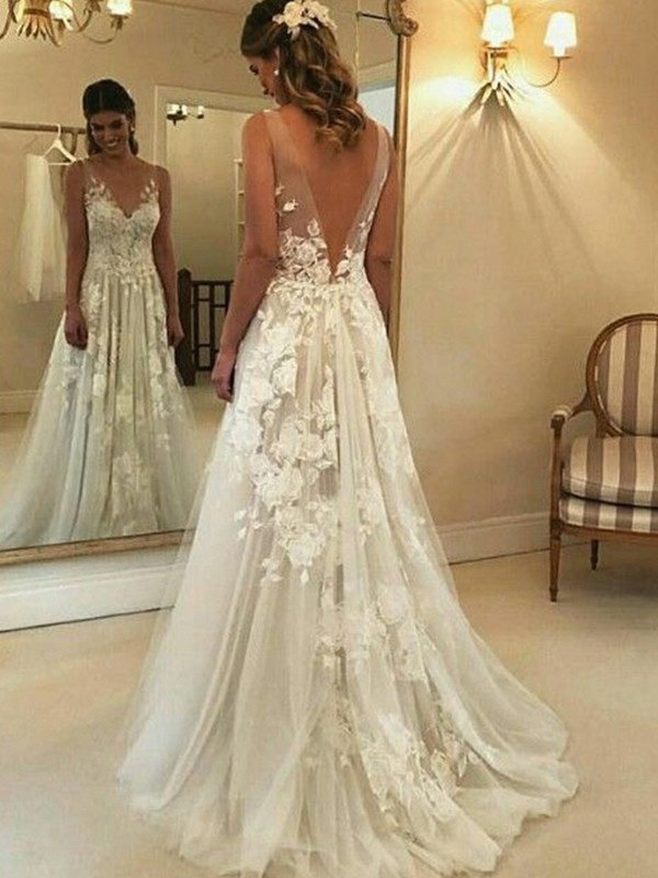 A-Line/Princess Applique Sleeveless Tulle V-neck Sweep/Brush Train Wedding Dresses