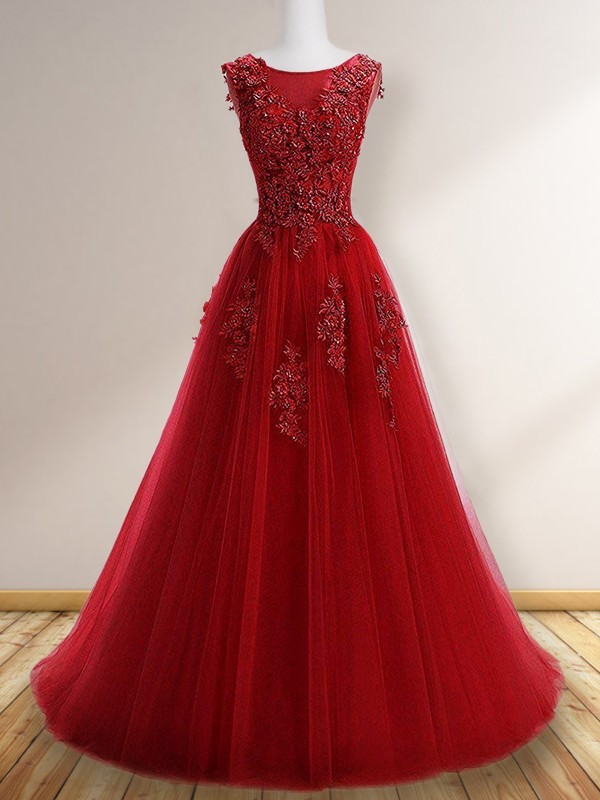 A-Line/Princess Applique Sleeveless Tulle Scoop Sweep/Brush Train Dresses