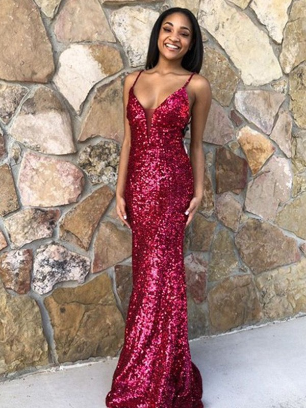 Trumpet/Mermaid Sleeveless Sequins Ruffles V-neck Sweep/Brush Train Dresses