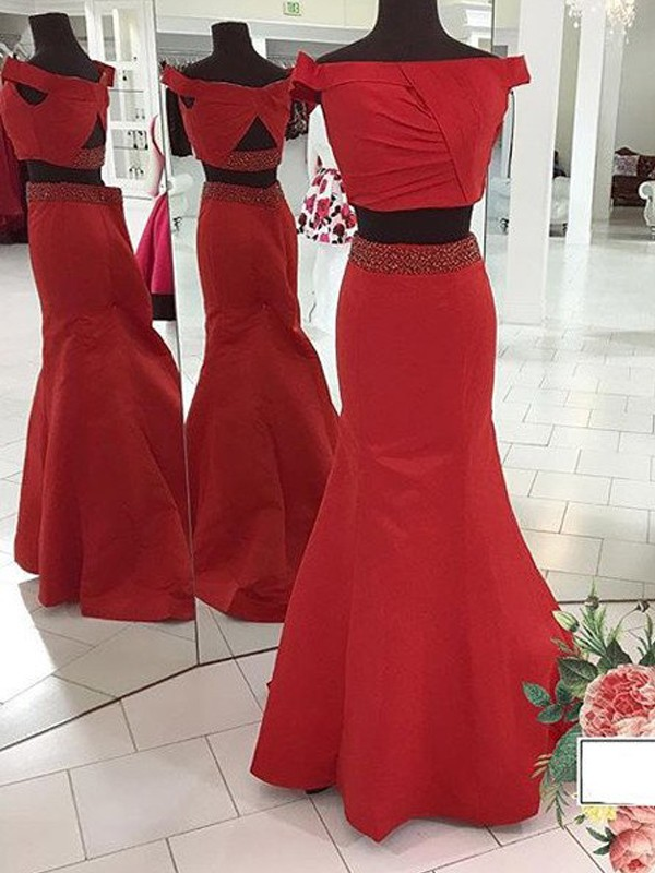 Trumpet/Mermaid Off-the-Shoulder Sweep/Brush Train Ruched Satin Two Piece Dress