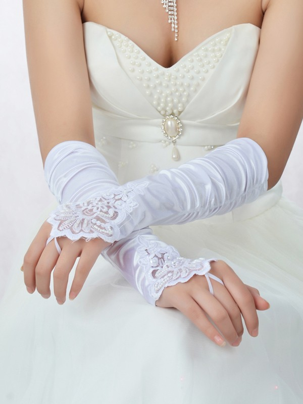 Lace Satin Beading Wedding Gloves