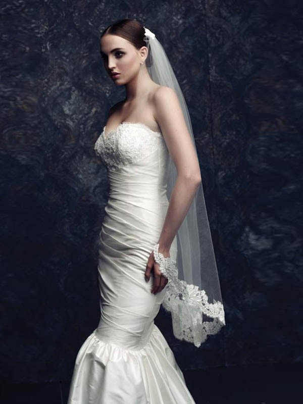 Tulle With Lace Wedding Veils