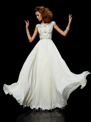 Ball Gown Chiffon High Neck Short Sleeves Floor-Length Evening Dress With Lace