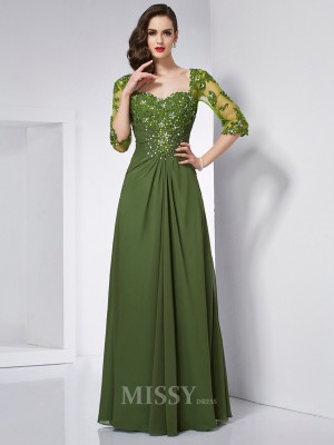 A-Line Sweetheart 3/4 Sleeves Chiffon Floor-Length Evening Dress With Beading