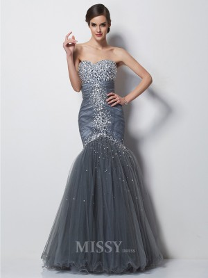 Mermaid Sweetheart Floor-Length Satin Evening Dress With Lace