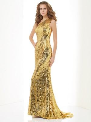 Sheath One-Shoulder Lace Sweep Train Evening Dress With Beading