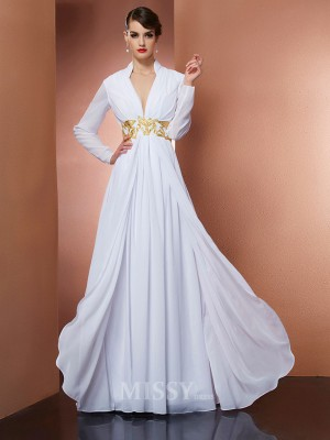 A-Line V-neck Long Sleeves Floor-Length Chiffon Evening Dress With Beading