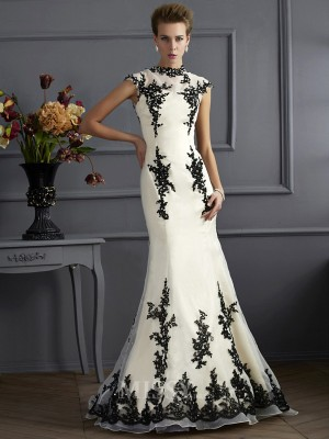 Mermaid Short High Neck Sweep Train Organza Evening Dress With Beading Applique