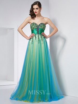 Ball Gown Sweetheart Elastic Woven Satin Sweep Train Evening Dress With Sequin Ruffles