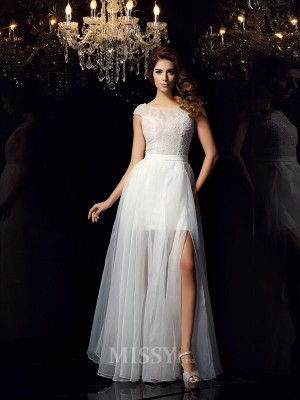 A-Line/Princess Short Sleeves Scoop Tulle Floor-Length Dress With Pleats