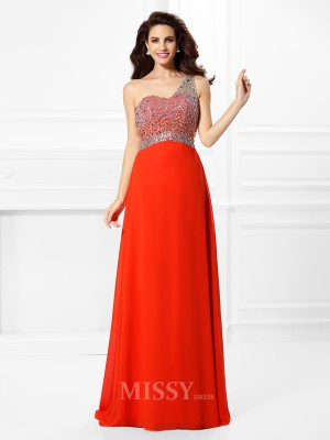 A-Line/Princess One-Shoulder Floor-Length Chiffon Dress With Sash