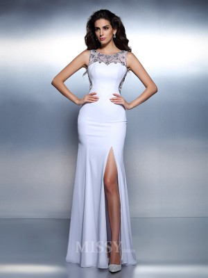 Trumpet/Mermaid Bateau Floor-Length Chiffon Dress With Beading