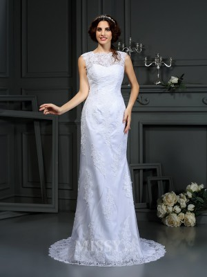 Sheath/Column High Neck Court Train Lace Wedding Dress With Beading